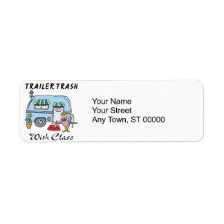 trailer park trash with class return address label