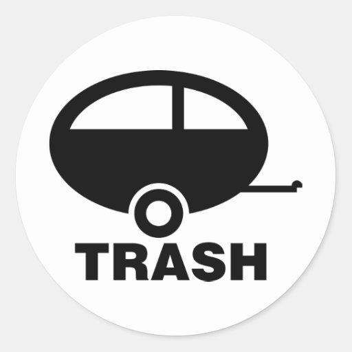 Trailer Trash ~ RV Travel Camping Round Sticker