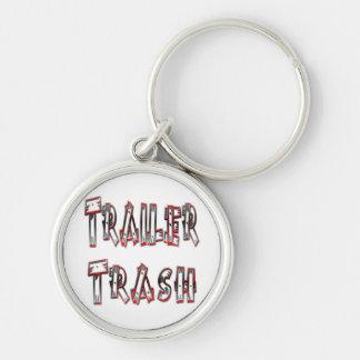 Trailer Trash Silver-Colored Round Keychain