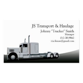 Trailer Truck Haulage Black Business Card