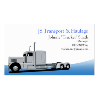 Trailer Truck Haulage Blue Business Card