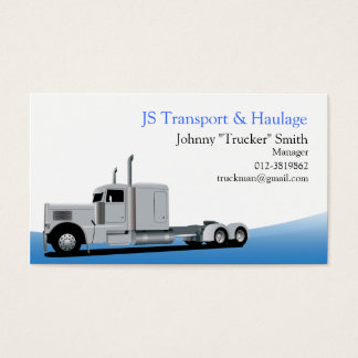 Trailer Truck Haulage Blue Business Card