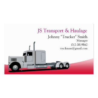 Trailer Truck Haulage Red Business Card