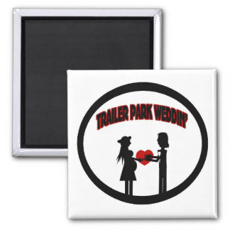 Trailer Wedding 2 Inch Square Magnet