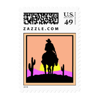 Trails End Cowboy silhouette Riding Sunset Stamp