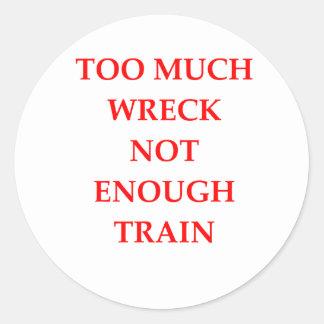 traim wreck classic round sticker