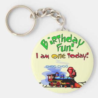 Train 1st Birthday Tshirts and Gifts Basic Round Button Keychain