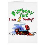 Train 2nd Birthday Tshirts and Gifts Greeting Card