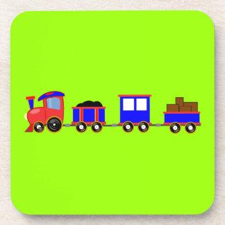 train-312107 train cartoon toy engine cars red blu beverage coaster