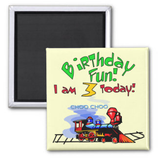 Train 3rd Birthday Tshirts and Gifts 2 Inch Square Magnet