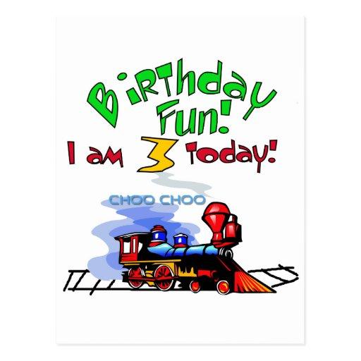Train 3rd Birthday Tshirts and Gifts Postcard