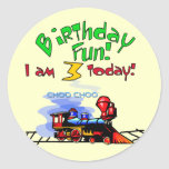 Train 3rd Birthday Tshirts and Gifts Round Stickers