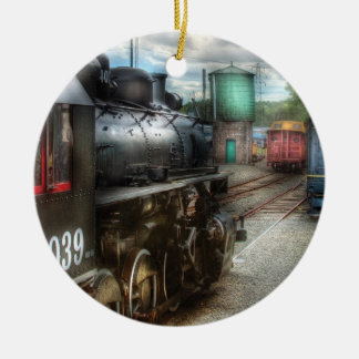 Train - 4039 - In the train yard Double-Sided Ceramic Round Christmas Ornament