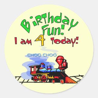 Train 4th Birthday Tshirts and Gifts Classic Round Sticker
