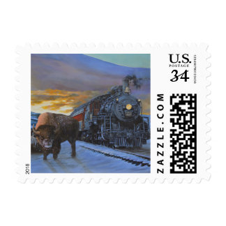 Train and Buffalo Painting Postage