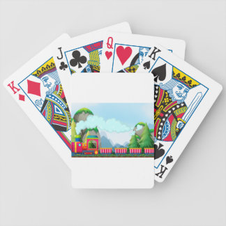 Train and mountain bicycle playing cards