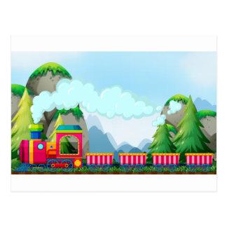 Train and mountain postcard