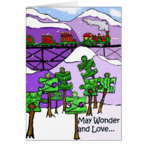 Train and puzzle trees Christmas Card autism