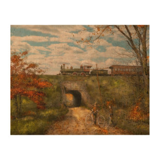 Train - Arlington, NJ - Enjoying the Autumn Day Photo Cork Paper