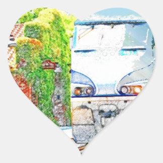 Train Arrival Heart Sticker