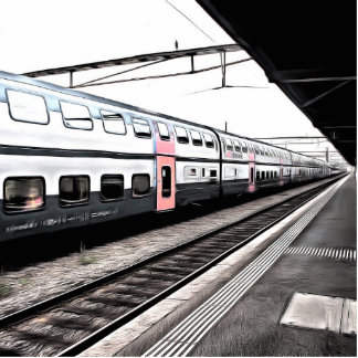 Train at station in Switzerland Cutout