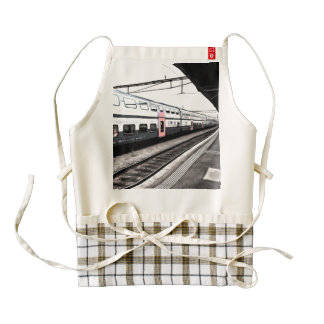 Train at station in Switzerland Zazzle HEART Apron