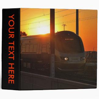 Train at sunset 3 ring binder