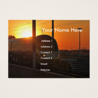 Train at sunset business card
