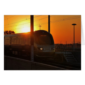 Train at sunset greeting cards