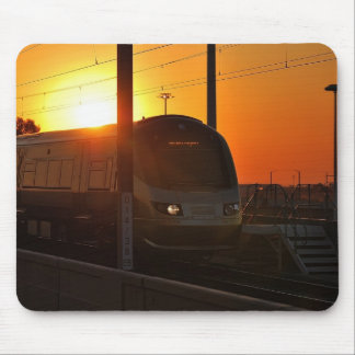 Train at sunset mouse pad