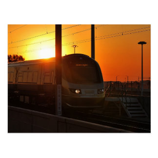 Train at sunset postcards