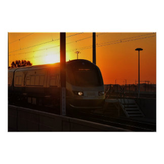 Train at sunset posters