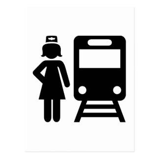 Train attendant postcard