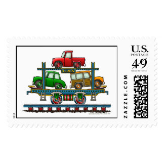 Train Auto Carrier Car Railroad Stamps