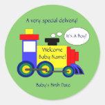 Train Birth Announcement Sticker