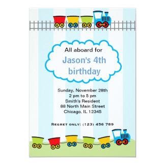 Train Birthday 5x7 Paper Invitation Card