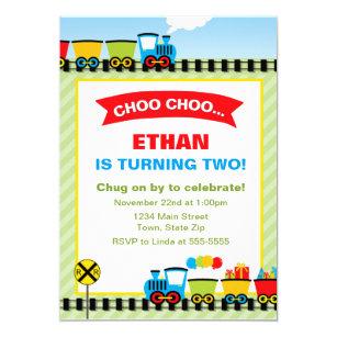 Train Birthday Invitations Announcements Zazzle