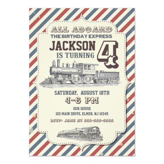 Train Birthday Invitation Vintage Invites Zazzle Com