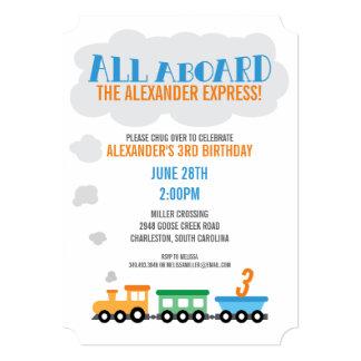 Train Birthday Party Card