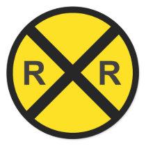Train Birthday Party (Railroad Crossing Sign) Classic Round Sticker