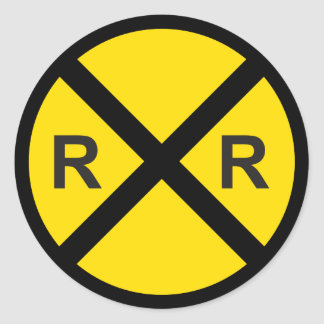 Train Birthday Party (Railroad Crossing Sign) Classic Round Sticker