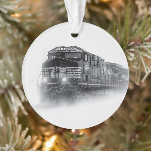 Train Black and White train tracks Ornament