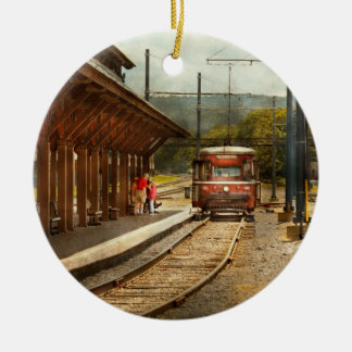 Train - Boarding the Scranton Trolley Double-Sided Ceramic Round Christmas Ornament