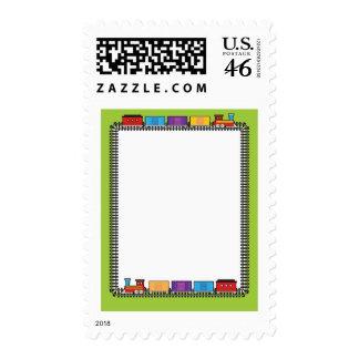 Train Border Postage Stamp