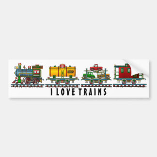 """Train Caboose Car, Train Car Carrier Auto Car, .. Bumper Sticker"