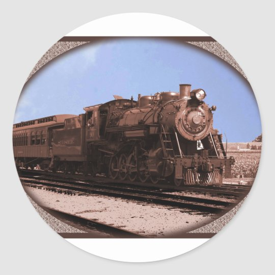 train classic round sticker