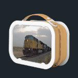 """Train coming down the track. lunch box<br><div class=""""desc"""">Picture of an oncoming train,  rolling down the track in the prairie.  Perfect gift for the train loving child!</div>"""