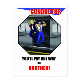 TRAIN CONDUCTOR - LIRR TRAIN - ELECTRIC TRAIN POSTCARD