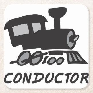 Train Conductor Square Paper Coaster