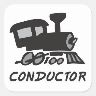 Train Conductor Square Sticker